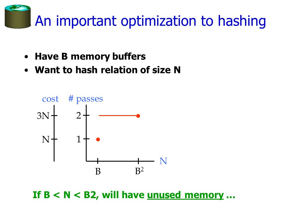 1 Hybrid Hashing Idea: keep one of the hash buckets in memory.