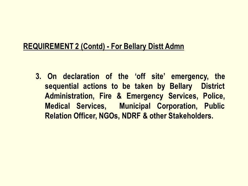 REQUIREMENT 2 (Contd) - For Bellary Distt Admn 3.