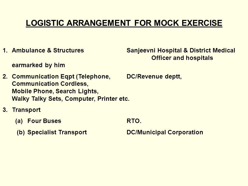 LOGISTIC ARRANGEMENT FOR MOCK EXERCISE 1.Ambulance & StructuresSanjeevni Hospital & District Medical Officer and hospitals earmarked by him 2.Communic