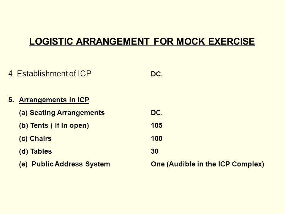 LOGISTIC ARRANGEMENT FOR MOCK EXERCISE 4. Establishment of ICP DC.