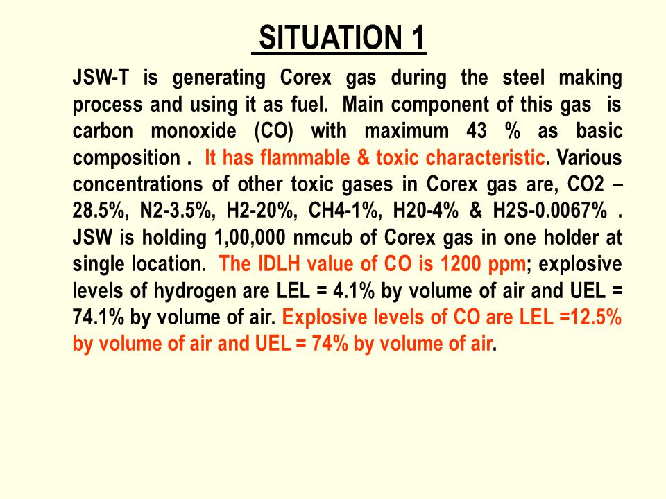 SITUATION 1 JSW-T is generating Corex gas during the steel making process and using it as fuel. Main component of this gas is carbon monoxide (CO) wit