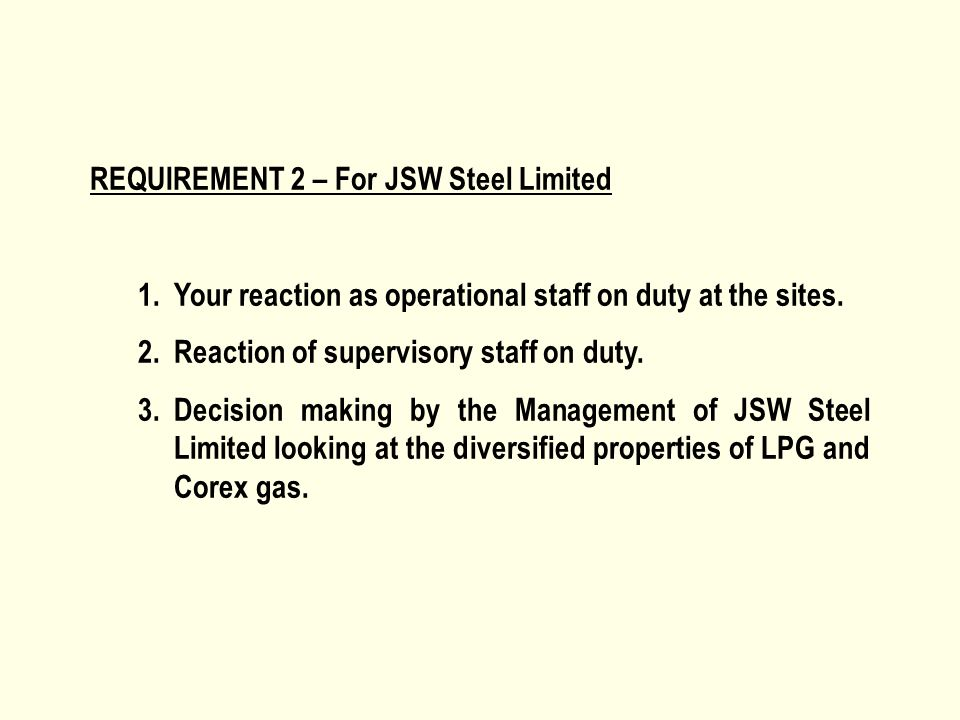 REQUIREMENT 2 – For JSW Steel Limited 1.Your reaction as operational staff on duty at the sites. 2.Reaction of supervisory staff on duty. 3.Decision m