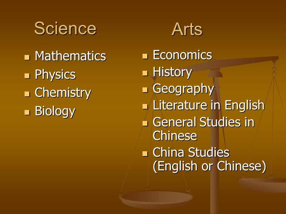 Science Mathematics Mathematics Physics Physics Chemistry Chemistry Biology Biology Arts Economics Economics History History Geography Geography Literature in English Literature in English General Studies in Chinese General Studies in Chinese China Studies (English or Chinese) China Studies (English or Chinese)