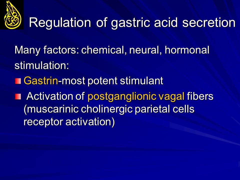 Regulation of gastric acid secretion Many factors: chemical, neural, hormonal stimulation: Gastrin-most potent stimulant Activation of postganglionic