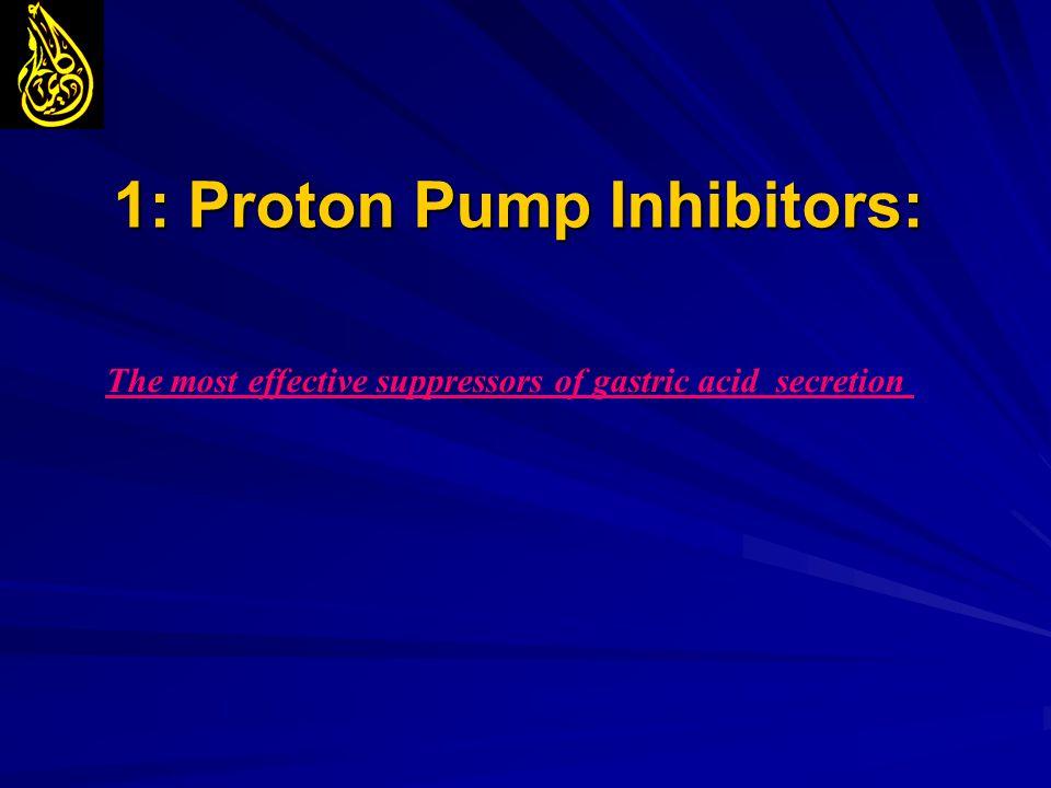 1: Proton Pump Inhibitors: The most effective suppressors of gastric acid secretion