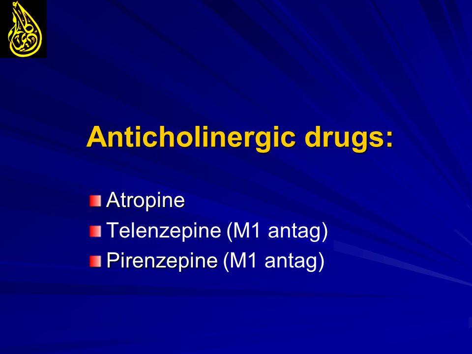 Anticholinergic drugs: Atropine Telenzepine (M1 antag) Pirenzepine Pirenzepine (M1 antag)