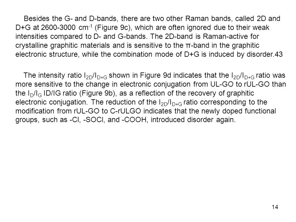 14 Besides the G- and D-bands, there are two other Raman bands, called 2D and D+G at 2600-3000 cm -1 (Figure 9c), which are often ignored due to their