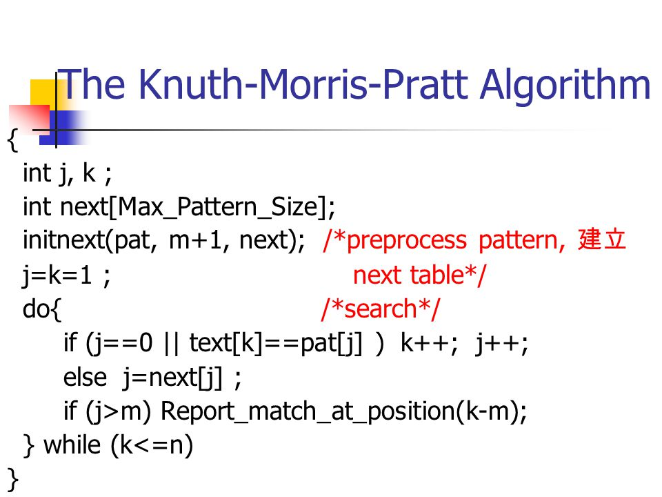 The Knuth-Morris-Pratt Algorithm(cont.) To accomplish this, the pattern is preprocessed to obtain a table that gives the next position in the pattern to be processed after a mismatch.