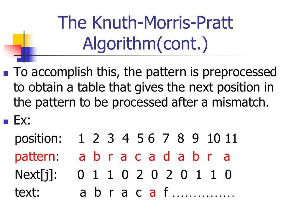 The Boyer-Moore-Horspool Algorithm(cont.) Eaxmple : T : x y z a b r a x y z a b r a c a d a b r a P : a b r a c a d a b r a