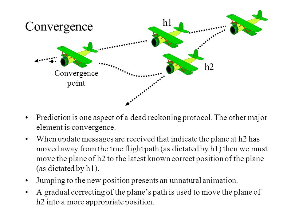 Convergence Prediction is one aspect of a dead reckoning protocol. The other major element is convergence. When update messages are received that indi