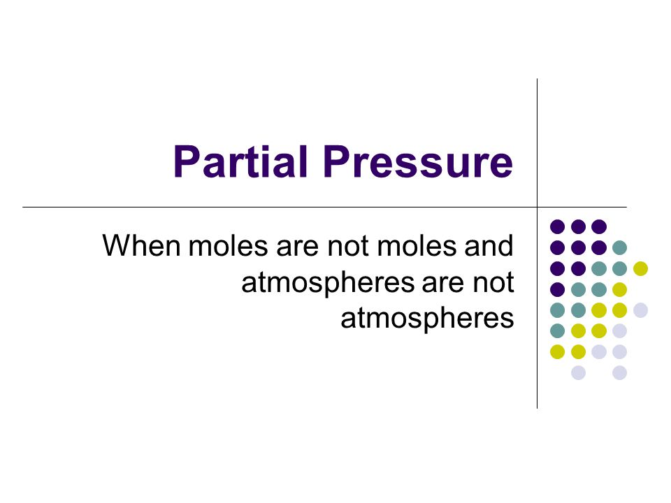 Partial Pressure When moles are not moles and atmospheres are not atmospheres