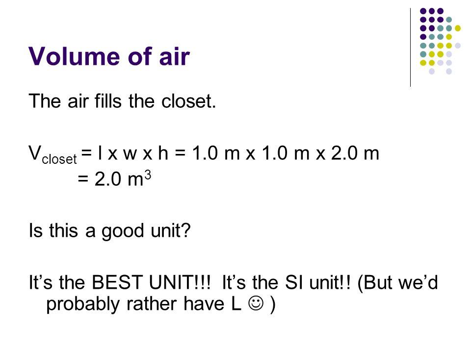 Volume of air The air fills the closet.