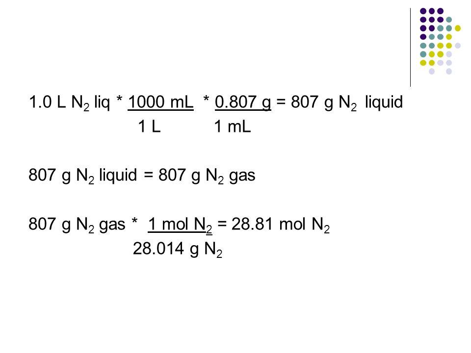 1.0 L N 2 liq * 1000 mL * 0.807 g = 807 g N 2 liquid 1 L 1 mL 807 g N 2 liquid = 807 g N 2 gas 807 g N 2 gas * 1 mol N 2 = 28.81 mol N 2 28.014 g N 2