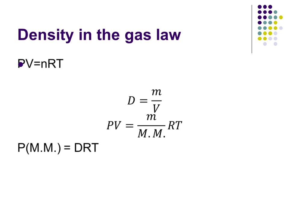 Density in the gas law