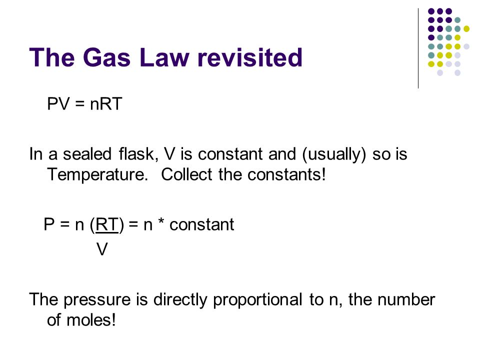The Gas Law revisited PV = nRT In a sealed flask, V is constant and (usually) so is Temperature.