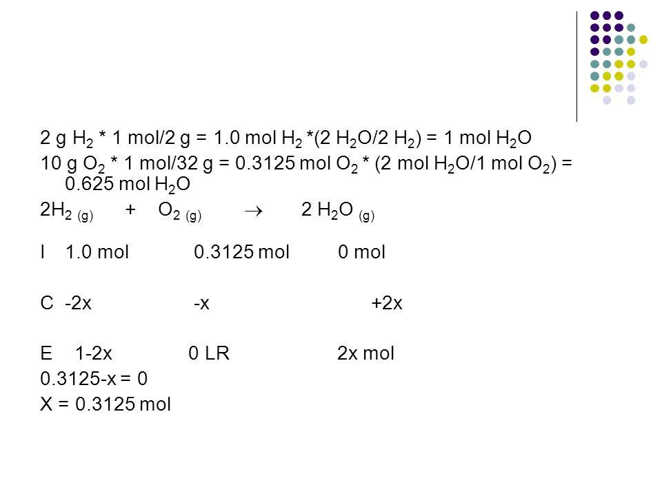 2 g H 2 * 1 mol/2 g = 1.0 mol H 2 *(2 H 2 O/2 H 2 ) = 1 mol H 2 O 10 g O 2 * 1 mol/32 g = 0.3125 mol O 2 * (2 mol H 2 O/1 mol O 2 ) = 0.625 mol H 2 O 2H 2 (g) + O 2 (g)  2 H 2 O (g) I1.0 mol 0.3125 mol 0 mol C -2x -x +2x E 1-2x 0 LR 2x mol 0.3125-x = 0 X = 0.3125 mol