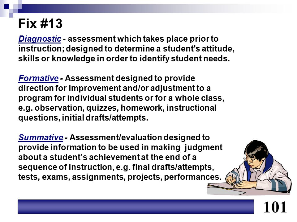 Fix #13 Diagnostic - assessment which takes place prior to instruction; designed to determine a student's attitude, skills or knowledge in order to id