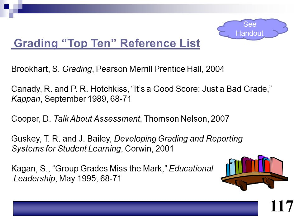 """Grading """"Top Ten"""" Reference List Brookhart, S. Grading, Pearson Merrill Prentice Hall, 2004 Canady, R. and P. R. Hotchkiss, """"It's a Good Score: Just a"""