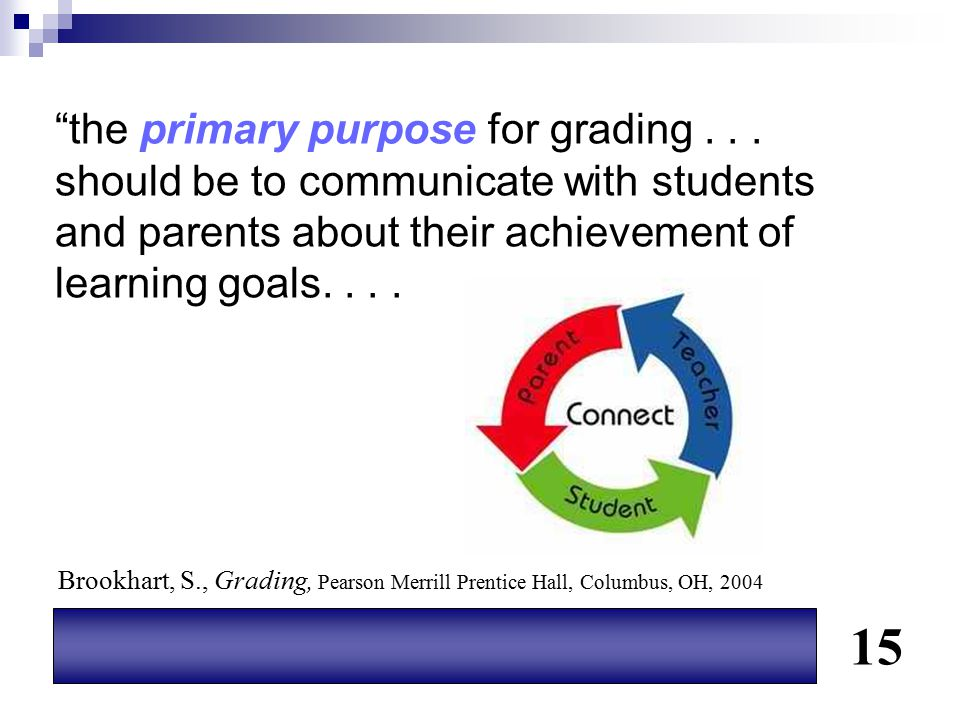 """""""the primary purpose for grading... should be to communicate with students and parents about their achievement of learning goals.... 15 Brookhart, S.,"""