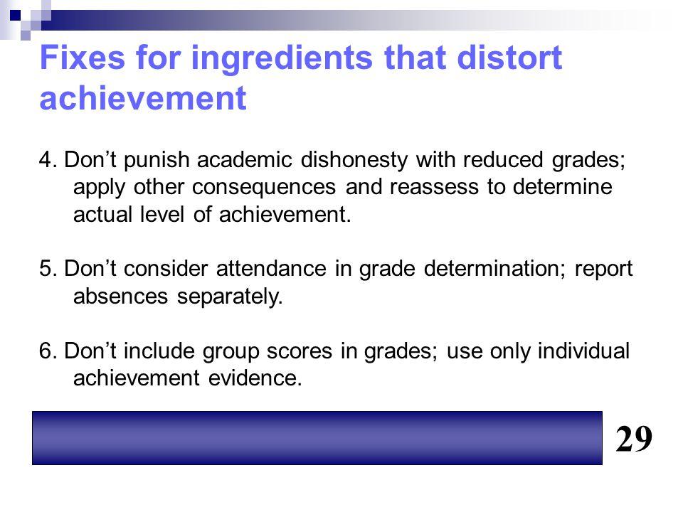 Fixes for ingredients that distort achievement 4. Don't punish academic dishonesty with reduced grades; apply other consequences and reassess to deter
