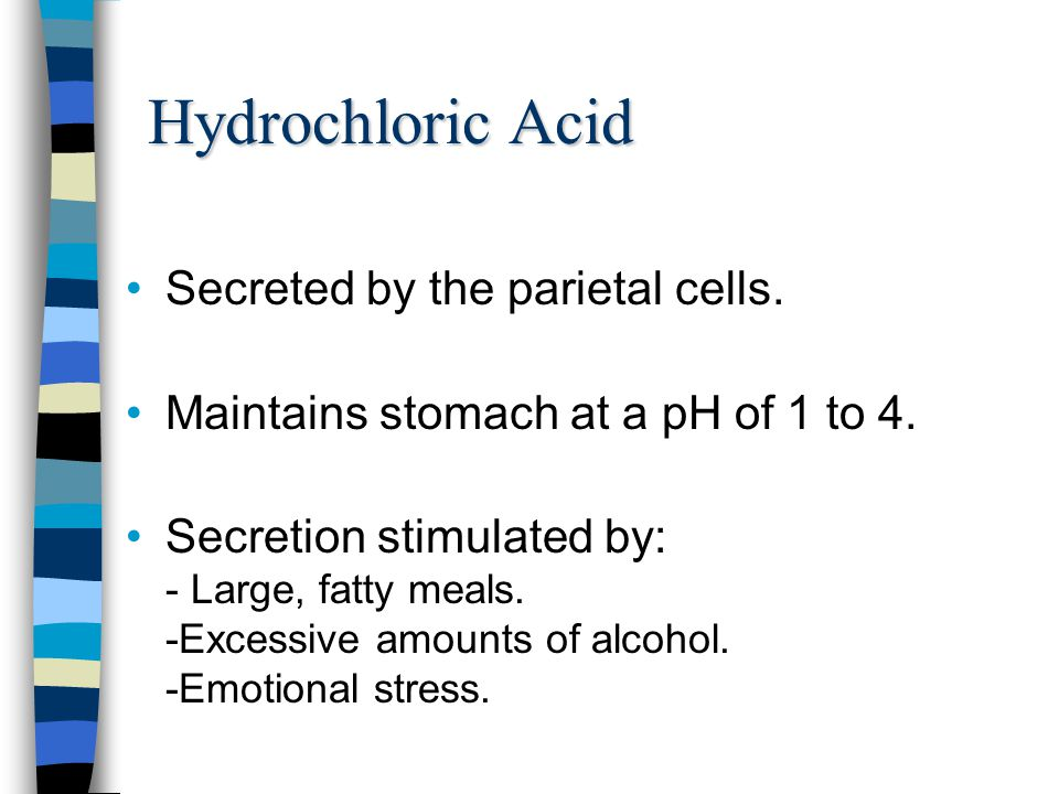 Hydrochloric Acid Secreted by the parietal cells. Maintains stomach at a pH of 1 to 4. Secretion stimulated by: - Large, fatty meals. -Excessive amoun