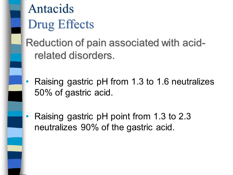 Antacids Drug Effects Reduction of pain associated with acid- related disorders. Raising gastric pH from 1.3 to 1.6 neutralizes 50% of gastric acid. R