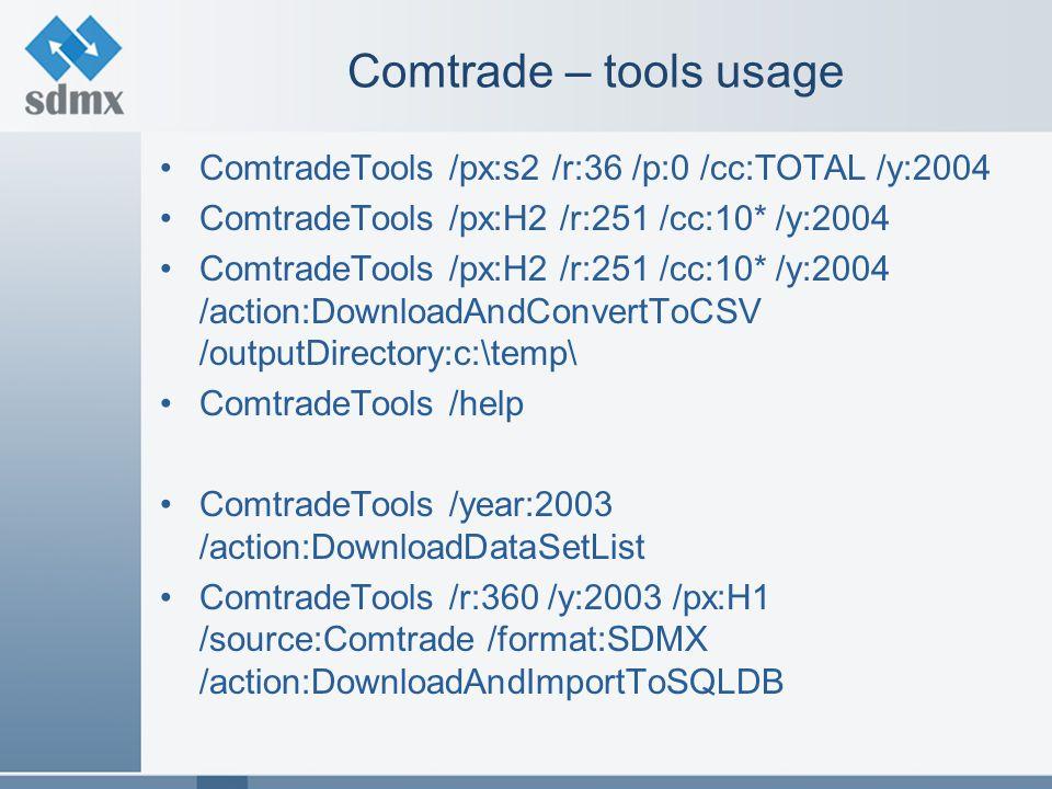 Comtrade – tools usage ComtradeTools /px:s2 /r:36 /p:0 /cc:TOTAL /y:2004 ComtradeTools /px:H2 /r:251 /cc:10* /y:2004 ComtradeTools /px:H2 /r:251 /cc:10* /y:2004 /action:DownloadAndConvertToCSV /outputDirectory:c:\temp\ ComtradeTools /help ComtradeTools /year:2003 /action:DownloadDataSetList ComtradeTools /r:360 /y:2003 /px:H1 /source:Comtrade /format:SDMX /action:DownloadAndImportToSQLDB