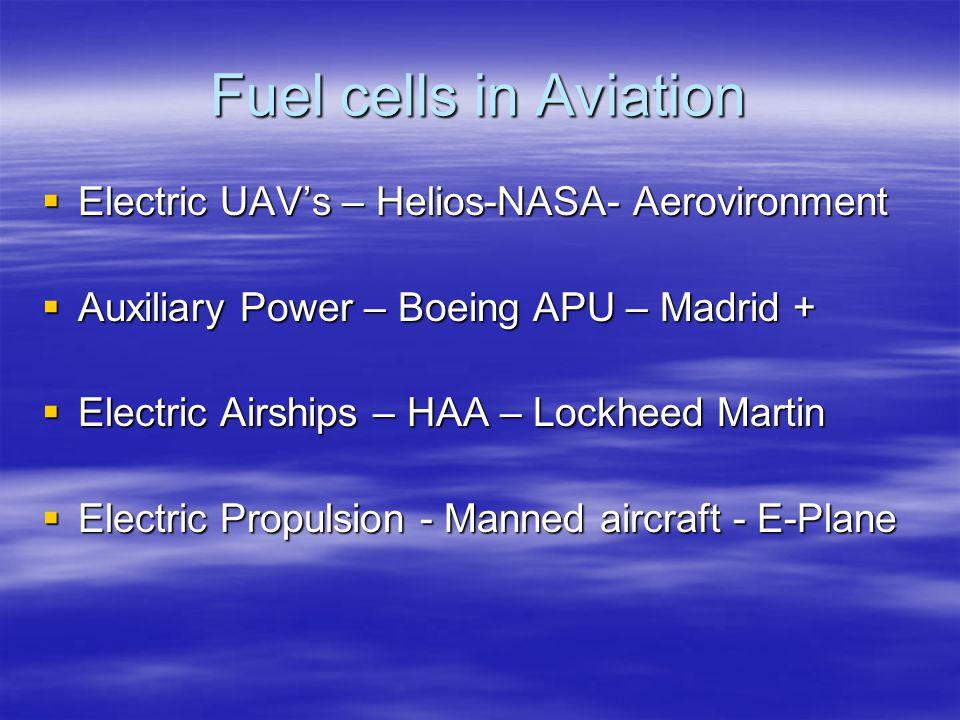 Fuel cells in Aviation  Electric UAV's – Helios-NASA- Aerovironment  Auxiliary Power – Boeing APU – Madrid +  Electric Airships – HAA – Lockheed Ma