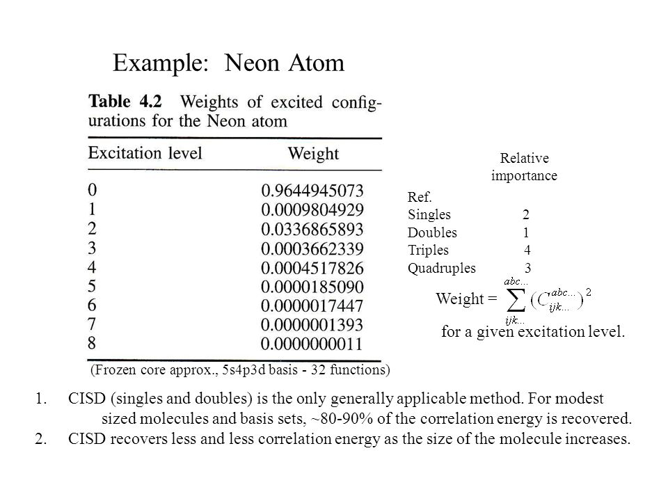 Example: Neon Atom Ref. Singles 2 Doubles 1 Triples 4 Quadruples 3 Weight = for a given excitation level. Relative importance (Frozen core approx., 5s