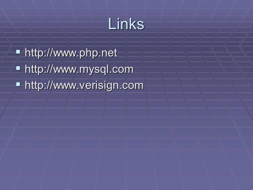 Links  http://www.php.net  http://www.mysql.com  http://www.verisign.com