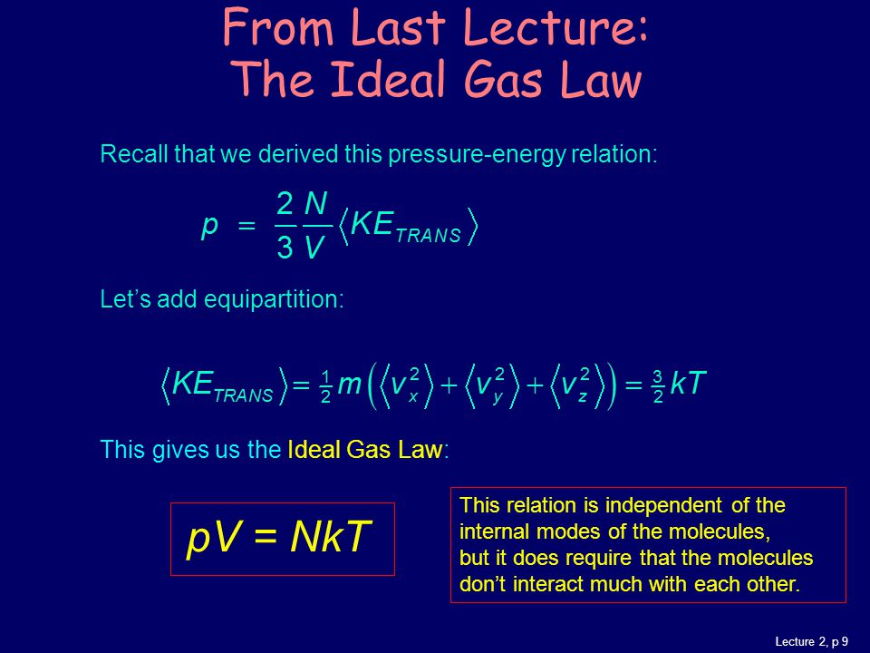 Lecture 2, p 9 Recall that we derived this pressure-energy relation: Let's add equipartition: This gives us the Ideal Gas Law: pV = NkT From Last Lecture: The Ideal Gas Law This relation is independent of the internal modes of the molecules, but it does require that the molecules don't interact much with each other.