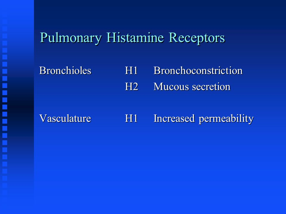 Pulmonary Histamine Receptors BronchiolesH1Bronchoconstriction H2Mucous secretion VasculatureH1Increased permeability