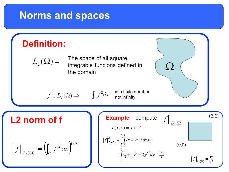 Norms and spaces Definition: The space of all square integrable funcions defined in the domain is a finite number not infinity L2 norm of f Examplecompute