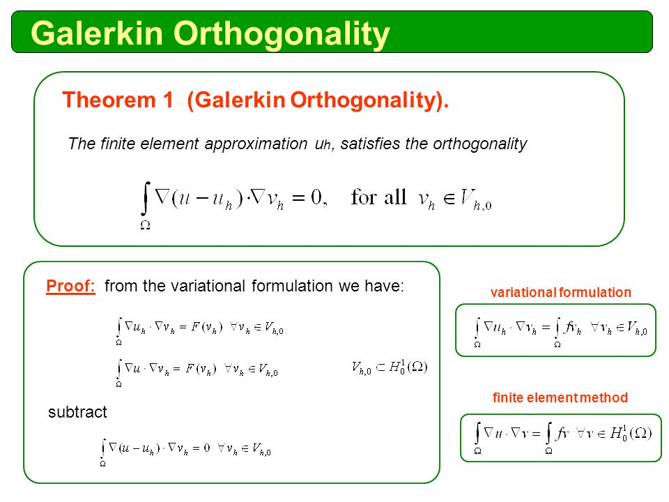 Galerkin Orthogonality The finite element approximation u h, satisfies the orthogonality Theorem 1 (Galerkin Orthogonality).