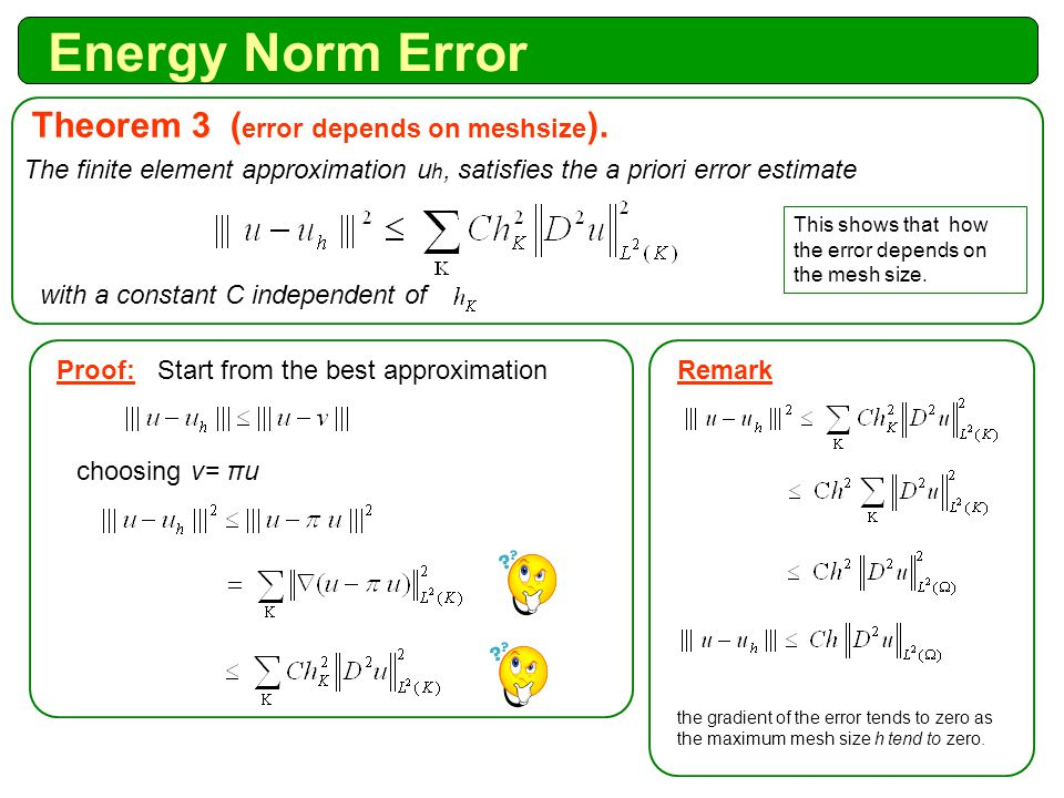 Energy Norm Error The finite element approximation u h, satisfies the a priori error estimate Theorem 3 ( error depends on meshsize ).