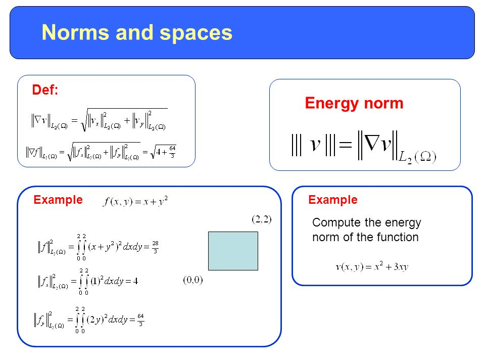 Example Def: Norms and spaces Energy norm Example Compute the energy norm of the function