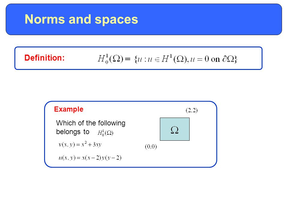 Norms and spaces Example Which of the following belongs to Definition: