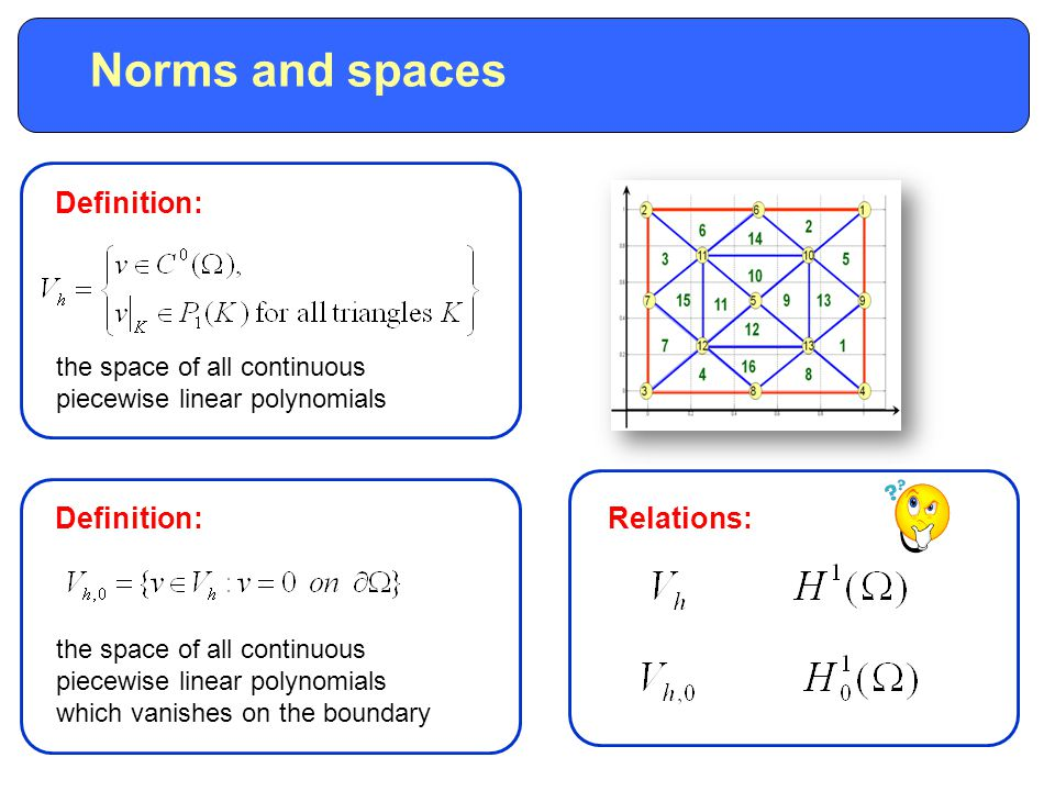 the space of all continuous piecewise linear polynomials the space of all continuous piecewise linear polynomials which vanishes on the boundary Definition: Norms and spaces Relations:
