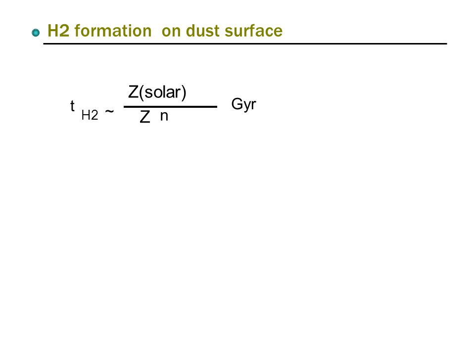 H2 formation on dust surface t H2 ~ Z(solar) Z n Gyr