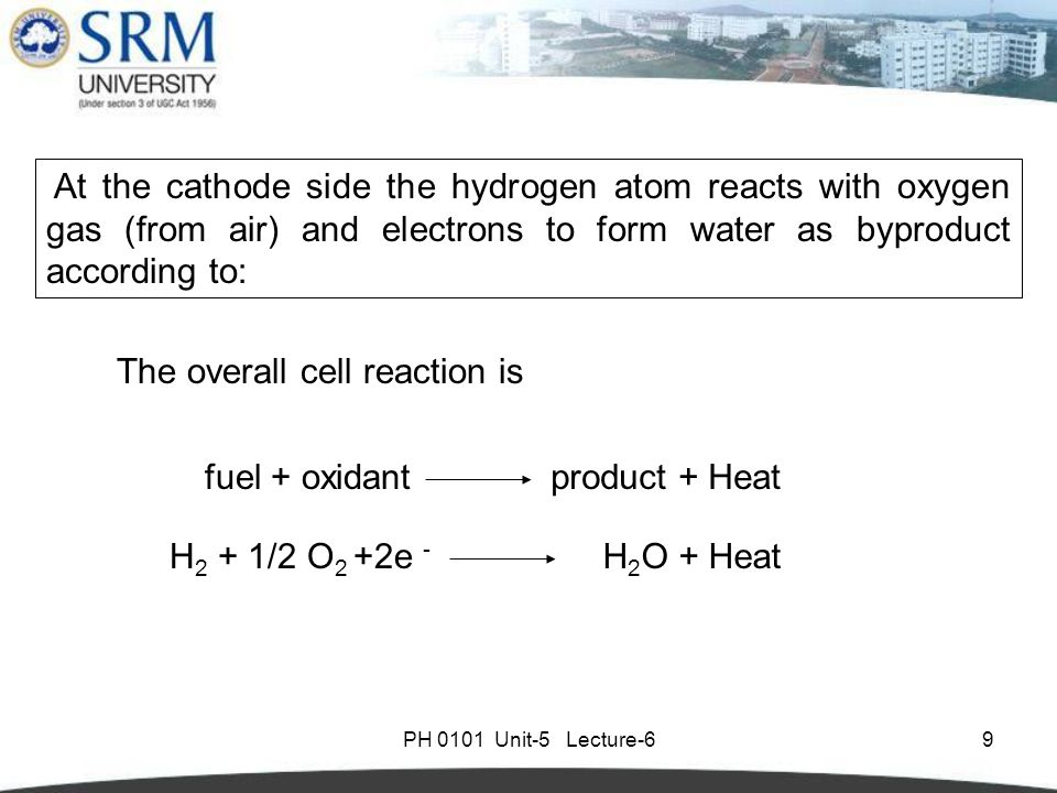 PH 0101 Unit-5 Lecture-69 At the cathode side the hydrogen atom reacts with oxygen gas (from air) and electrons to form water as byproduct according to: H 2 + 1/2 O 2 +2e - H 2 O + Heat fuel + oxidantproduct + Heat The overall cell reaction is