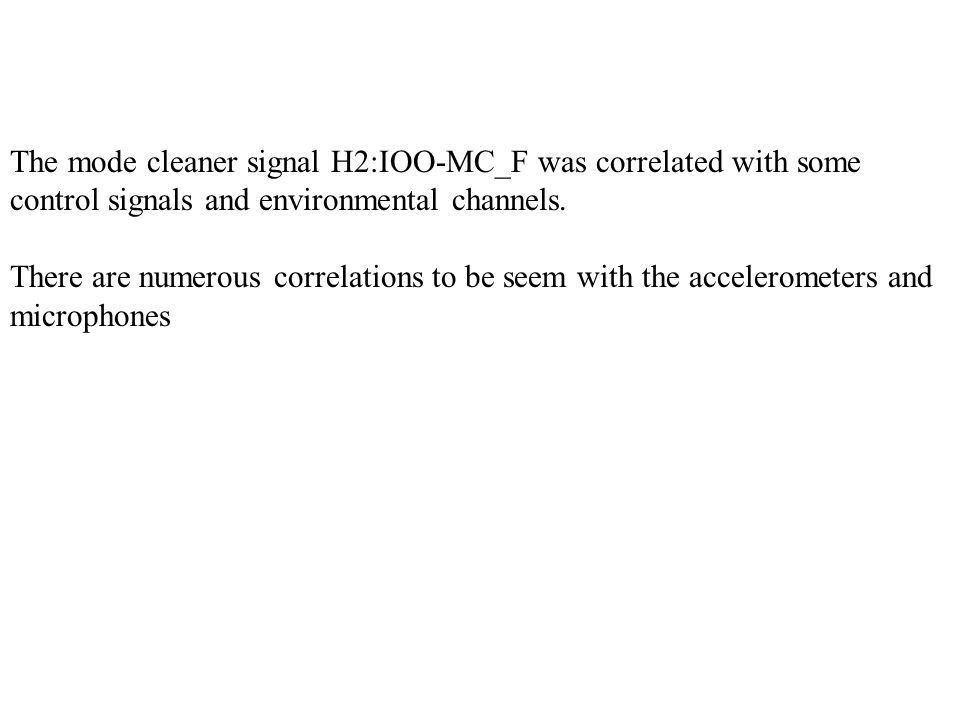 The mode cleaner signal H2:IOO-MC_F was correlated with some control signals and environmental channels.