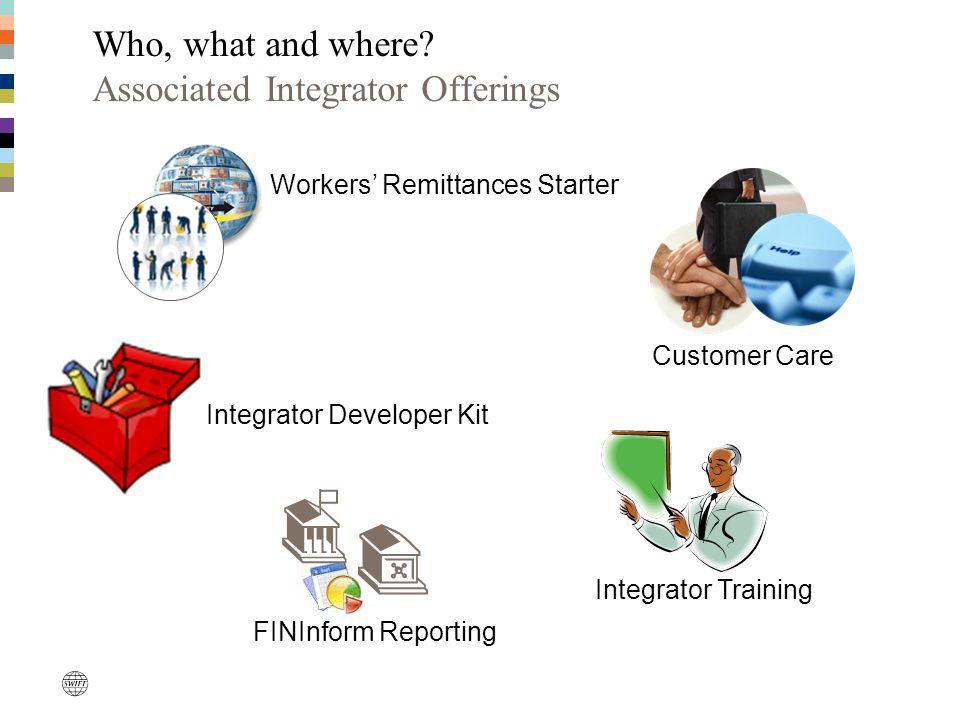 Workers' Remittances Starter Customer Care FINInform Reporting Integrator Developer Kit Integrator Training Who, what and where? Associated Integrator