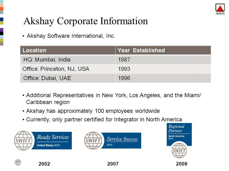 Akshay Corporate Information Akshay Software International, Inc. Additional Representatives in New York, Los Angeles, and the Miami/ Caribbean region