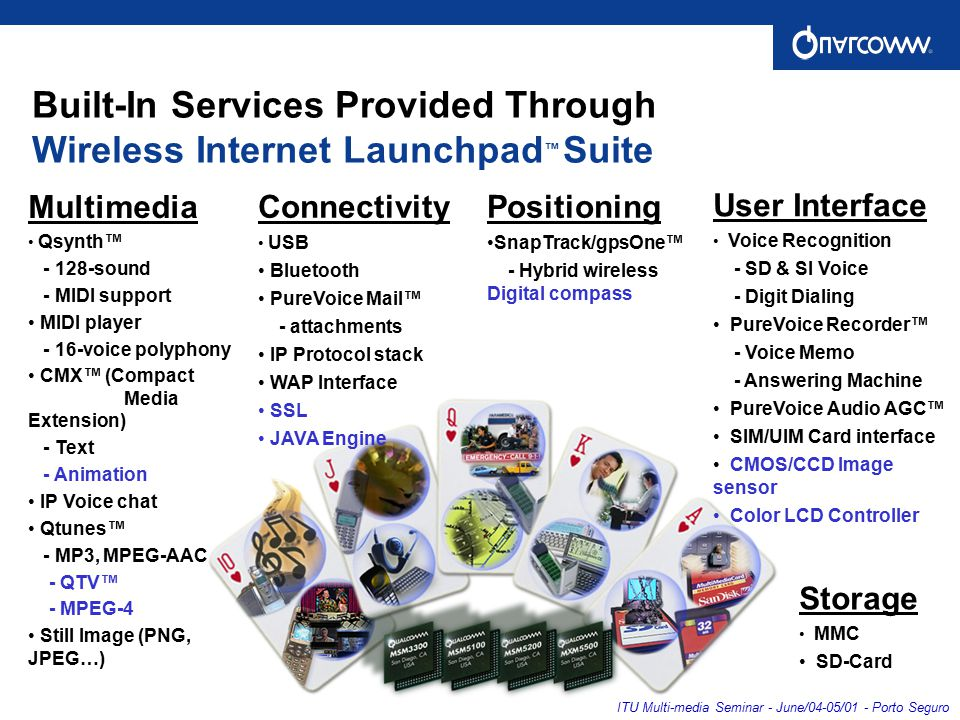 Built-In Services Provided Through Wireless Internet Launchpad ™ Suite Connectivity USB Bluetooth PureVoice Mail™ - attachments IP Protocol stack WAP Interface SSL JAVA Engine Multimedia Qsynth™ - 128-sound - MIDI support MIDI player - 16-voice polyphony CMX™ (Compact Media Extension) - Text - Animation IP Voice chat Qtunes™ - MP3, MPEG-AAC - QTV™ - MPEG-4 Still Image (PNG, JPEG…) Positioning SnapTrack/gpsOne™ - Hybrid wireless Digital compass User Interface Voice Recognition - SD & SI Voice - Digit Dialing PureVoice Recorder™ - Voice Memo - Answering Machine PureVoice Audio AGC™ SIM/UIM Card interface CMOS/CCD Image sensor Color LCD Controller Storage MMC SD-Card