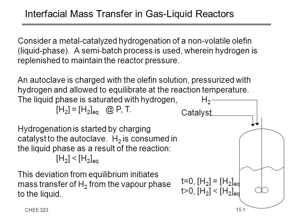 CHEE 32315.1 Interfacial Mass Transfer in Gas-Liquid Reactors Consider a metal-catalyzed hydrogenation of a non-volatile olefin (liquid-phase). A semi