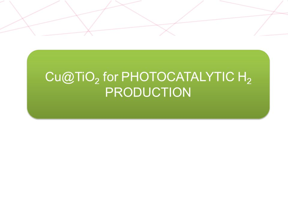 h > 3.0 eV Water splitting: Very low efficiency Organic molecule as sacrificial agents Renewable compounds