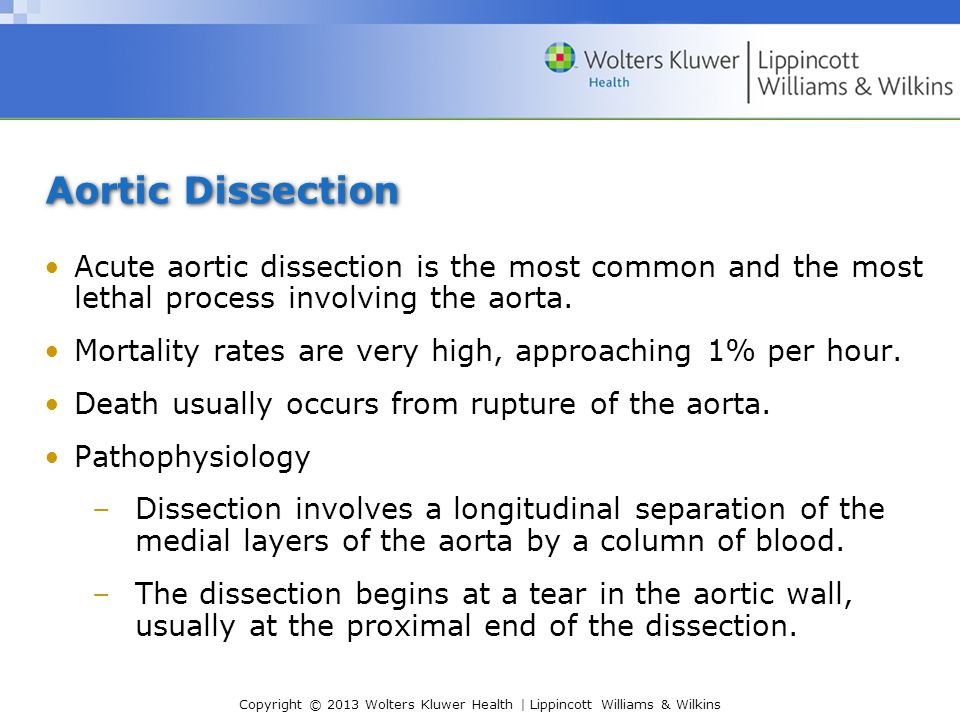 Copyright © 2013 Wolters Kluwer Health | Lippincott Williams & Wilkins Aortic Dissection Acute aortic dissection is the most common and the most letha