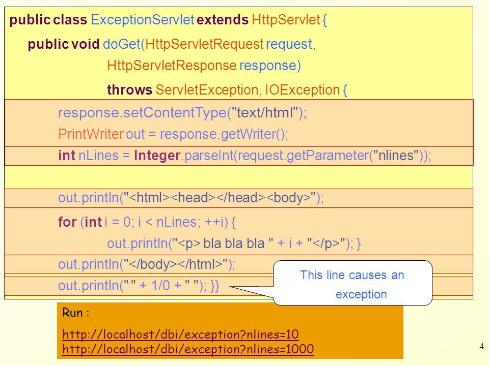 25 public class LoginServlet extends HttpServlet { public void doGet(HttpServletRequest req, HttpServletResponse res) throws ServletException, IOException { res.setContentType( text/html ); PrintWriter out = res.getWriter(); out.println( Login ); if(req.getParameter( fail )!=null) out.print( Login Failed.