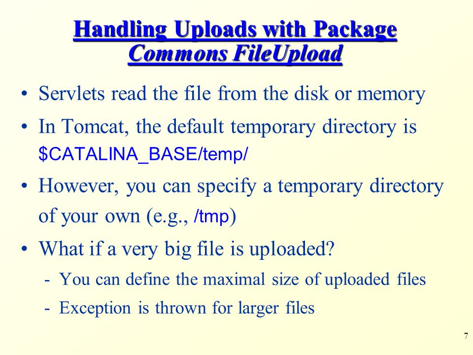 8 Example 1 Upload Files and Parameters <form action= upload1 method= post enctype= multipart/form-data > File: upload1.html Sends the client the uploaded file This is the right encoding type for files uploading