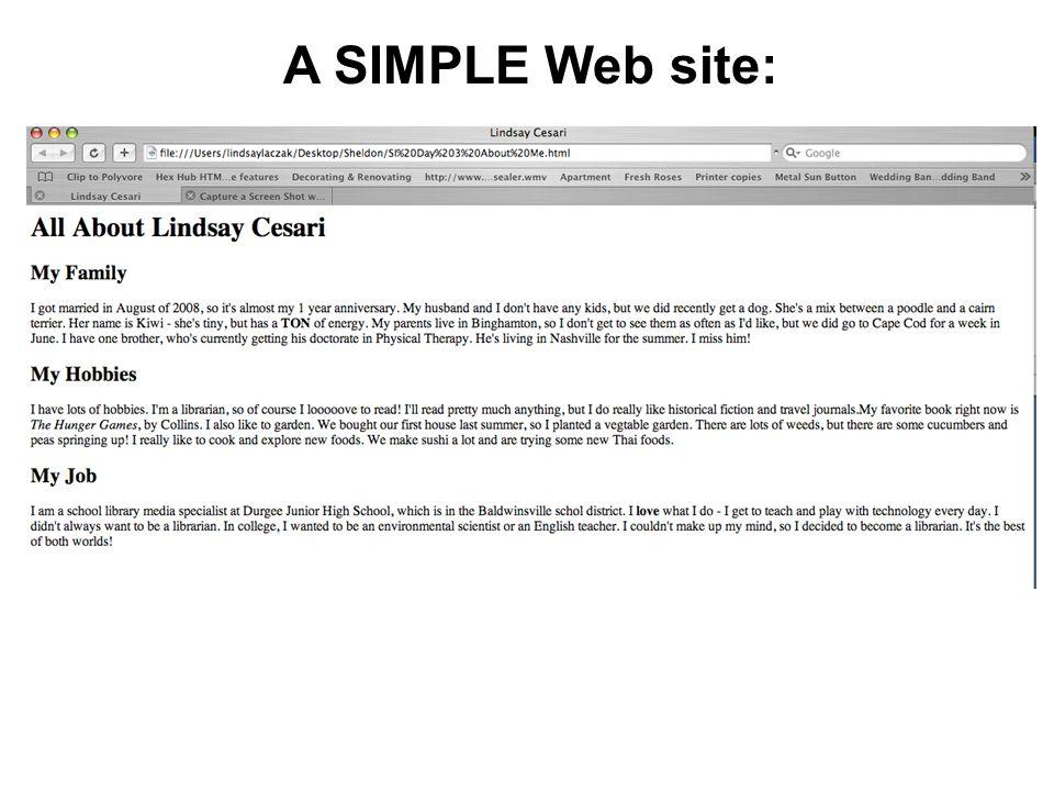 A SIMPLE Web site: